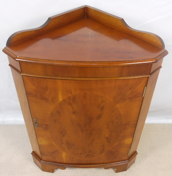 Yew Wood, Bowfront Low Corner Cupboard   SOLD